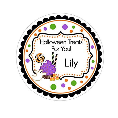 Personalized Customized Halloween Party Favor Thank You Stickers - Cupcake and Candy - Round Labels - Choose Your Size