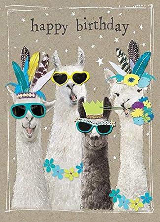 Happy Birthday Karte.Lama Alpaka Karte Happy Birthday Geburtstagskarte Mit Umschlag
