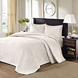 3 Piece Oversized Ivory King Bedspread to the Floor Set, Solid Cream Tone, 120 Inches X 118 Inches, Bedding Drops Over Edge of King Beds, Polyester, Stylish and Classic Stitched