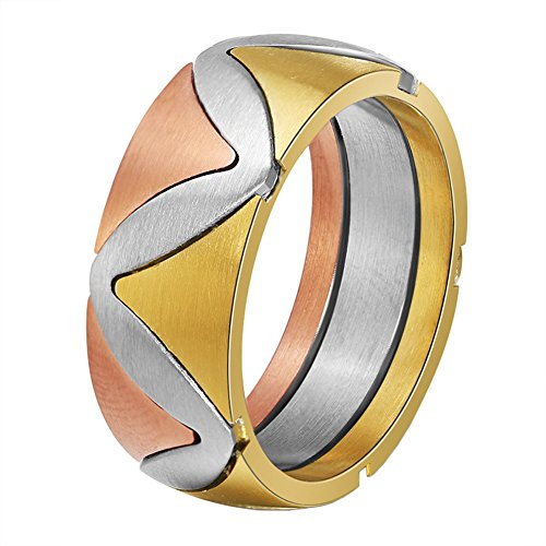 Rose Puzzle Ring (PAURO Women's 316l Stainles Steel Tri Color Rose Gold Silver Golden Puzzle Ring 8mm Band Size 9)