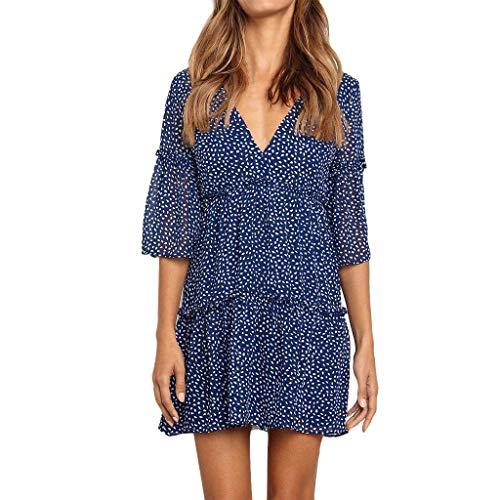 - Women Boho Ruffle Mini Dress, Lady Summer Casual Deep V Neck Half Sleeve Pleated Swing Short Beach Dresses (Medium, Blue)
