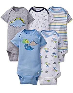 Unisex Baby Onesies (Pack of 5) (6-9 Months, Dino)