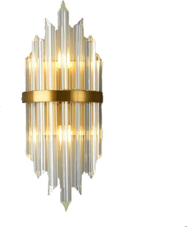 Led Titanium Wall Light Crystal Tube Stitching Wall Lamp Indoor Auxiliary Wall Lighting Fixture Gold Finish Wall Sconce For Living Room Hallway Hotel Bedroom Amazon Co Uk Kitchen Home