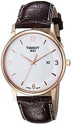 Tissot Men's 'T Gold' Swiss Quartz and Leather Automatic Watch, Color:Brown (Model: T9144104601700)