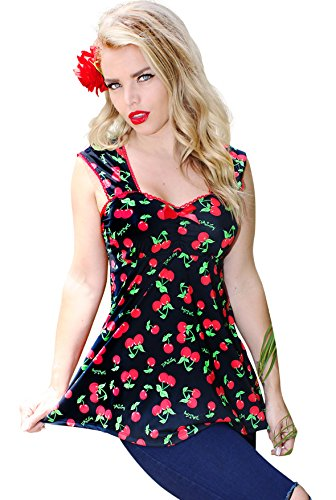 Cherry Baby Doll (Baby Doll Women's Cherry Pinup Vintage Rockabilly Graphic Top~ Black (L, BLACK))