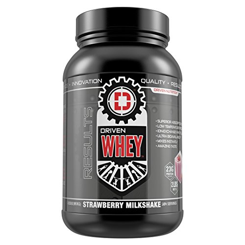 DRIVEN WHEY- Grass Fed Whey Protein: The superior tasting whey protein powder- recover faster, boost metabolism, promotes a healthier lifestyle (Strawberry Milkshake, 2 lb)
