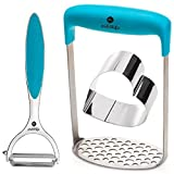 Pick4life Stainless Steel Potatoes Masher for Fruit Vegetable Baby Food | Potatoes Peeler | Heart Shaped Food Plating Ring + eBook with Delicious Recipes