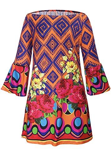 RUIYIGE - Vestido - para mujer naranja