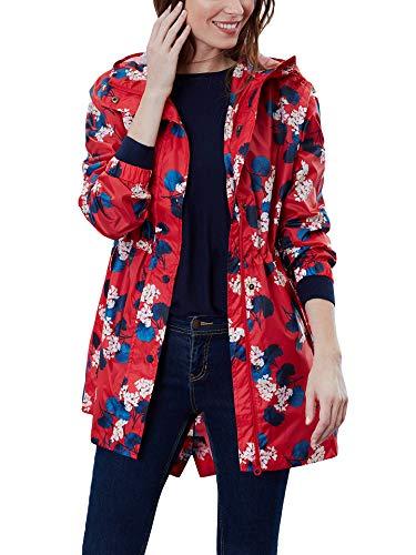 - Joules Women's Golightly Printed Packable Waterproof Rain Coat (Red Lilypad, US 4)