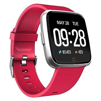 QTEC Reloj Inteligente Ip67 Impermeable Rojo Fitness Tracker ...