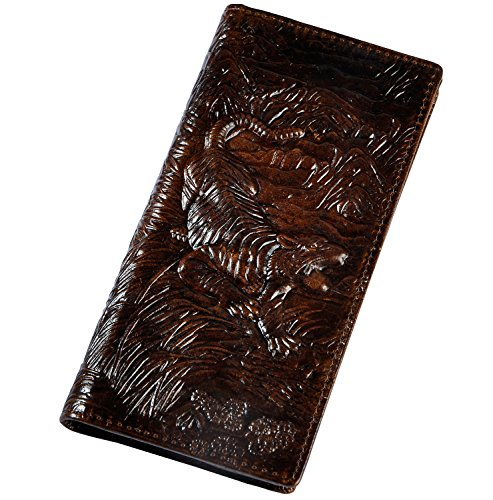 Le'aokuu Unisex Genuine Leather Bifold Wallet Purse Organizer Tiger Embossed (Coffee) Tigers Leather Money Clip