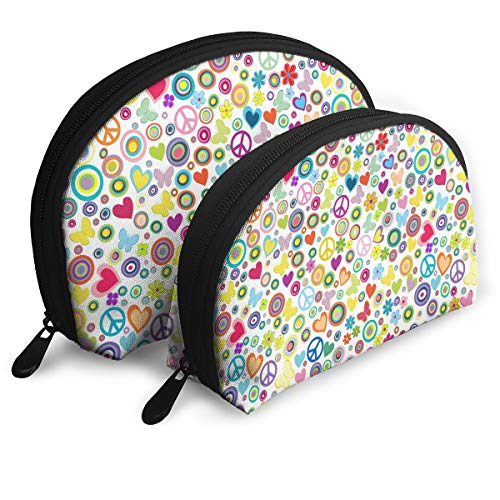 (Travel Cosmetic Storage Bag Flowers Peace Signs Pattern Printing Assorted Portable Bags Clutch Pouch For Ladies)