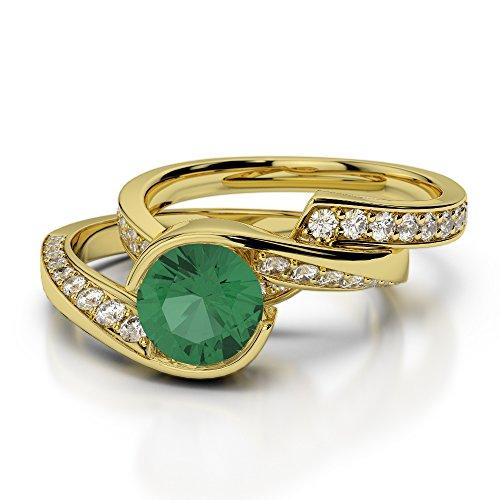 Or jaune 18carats 1CT G-H/VS sertie de diamants ronds découpé Émeraude et de mariage Bague de fiançailles et ensemble de Agdr-2019