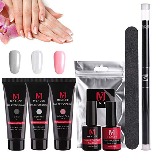 - Mealee Nail Extension Gel Poly Nail Gel Kit Builder Gel All-in-One Nail Thickening Solution Nail Enhancement Tool Nail Starter Kit