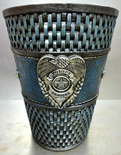 Blue_Bright Police Officer Badge Bath Bathroom Waste Basket Trash Can Garbage Wastebasket Hand Painted Dark Blue