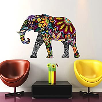 Elephant Wall Decals Full Color Indian Elephant Colorful Floral Patterns  Mandala Flowers Wall Vinyl Decal Stickers Part 56
