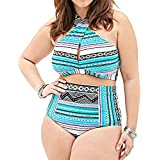 Gprince Women Geometric Cross High Neck Plus Size Bikini Swimsuit