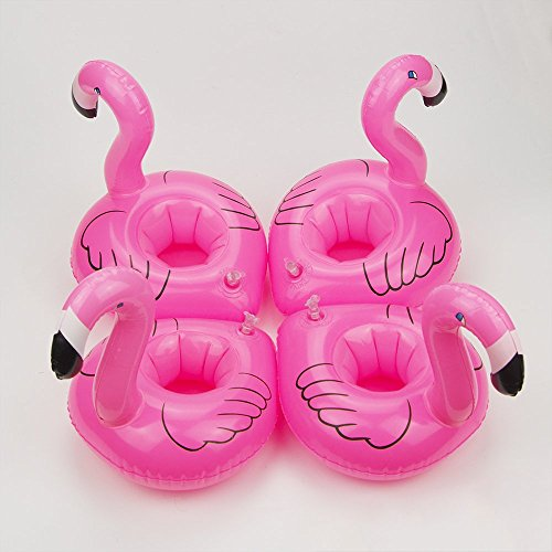 4x Mini Pink Flamingo Floating Inflatable Drink Holder Hot Tub Pool Bath Holiday