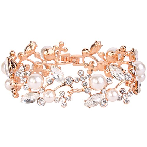 (EVER FAITH Rose Gold-Tone Crystal White Simulated Pearl Bridal Floral Leaf Tennis Bracelet Clear)