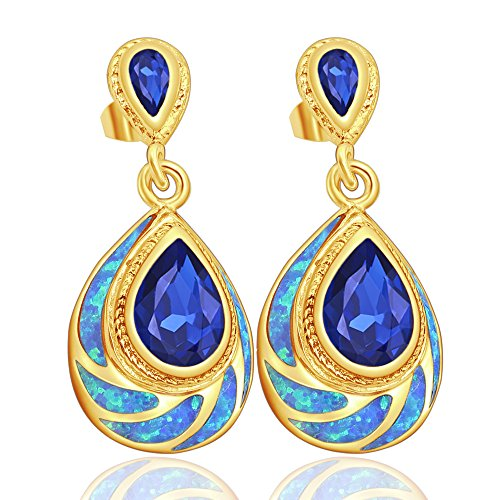 Sinlifu Silver Plated Blue or White Fire Australian Opal Topaz Dangle Drop Earrings (Blue yellow gold)