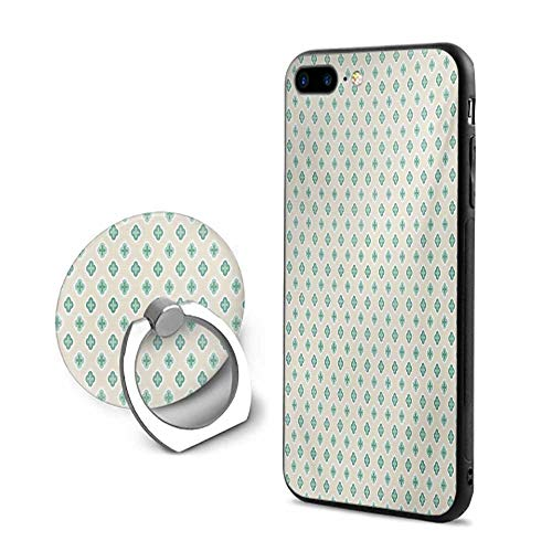 (Turquoise iPhone 7 Plus/iPhone 8 Plus Cases,Retro Cross Pattern Abstract Geometric Plus Figure Oval Frame Design Vintage Ivory Seafoam,Mobile Phone Shell Ring Bracket)