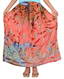 Skirts N Scarves Womens Rayon Hand Beaded Sequin Tie Dye Long Skirt one size,Multi 22