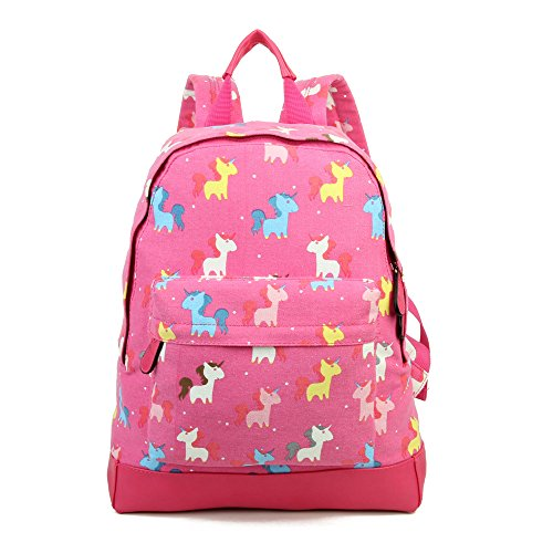 'Back JC Collection Bag to London UNICORN Designer Style Backpack Fuchsia Print New Childrens Kids School' Canvas Craze KIDS PvqwOnAxAa