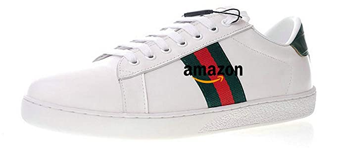 dc9c1435cc58 Ace Embroidered Sneakers Chaussures de Gymnastique Cuir Blanc Homme Femme  (42 EU, Blanc)  Amazon.fr  Chaussures et Sacs