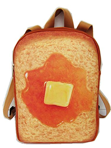 Skyseen 3D Simulation Butter Toast Bread Backpack Funny Food Shape Daypack School Bag,Small