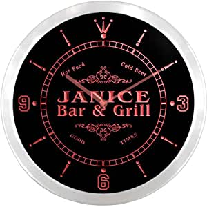 ncu21888-r JANICE Family Name Bar & Grill Cold Beer Neon Sign LED Wall Clock