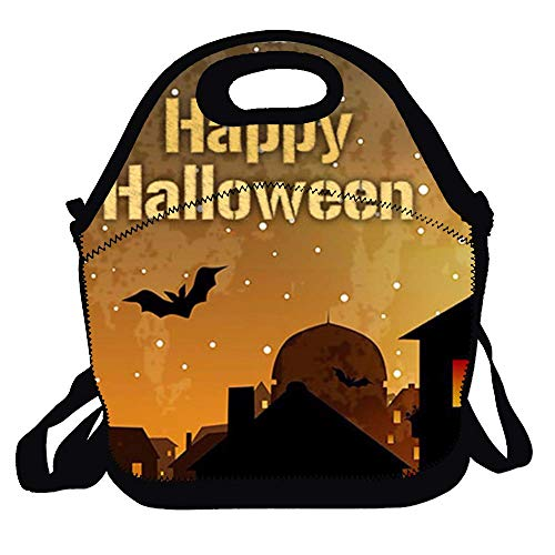 Insulated Lunch Bag - Bento Bag - Happy Halloween Large Reusable Lunch Tote Bags for Women, Teens, Girls, Kids, Baby, Adults