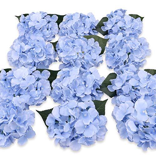 Felice Arts Silk Hydrangea Heads with Stems Artificial Flowers for DIY Bouquets Wedding Party Home Decor,Pack of 12(Blue) (Hydrangea Arrangements Purple)