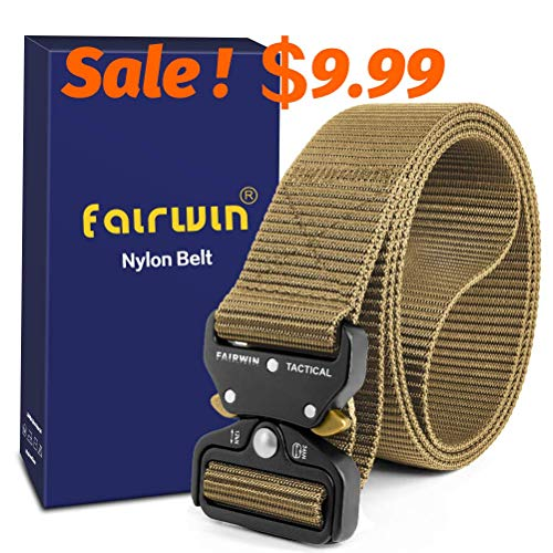 Fairwin Tactical Belt, Military Style Webbing Riggers Web Gun Belt with Heavy-Duty Quick-Release Metal Buckle (Black) (Tan, L 42