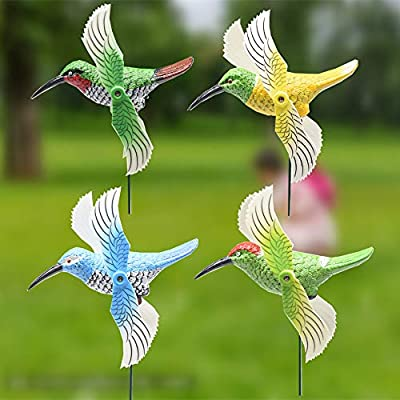 FENELY 4Pcs Hummingbird Garden Wind Spinners Decor Stakes with Windmill, Durable Garden Ornaments Outdoor Decorations for Patio Lawn Yard : Garden & Outdoor