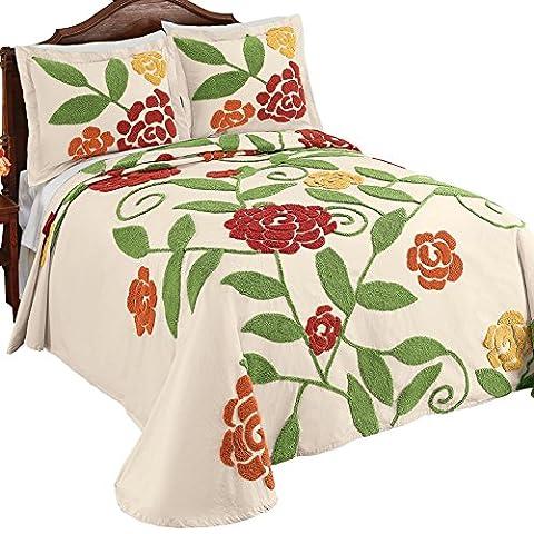 Reseda Large Flower Garden Pattern Chenille Lightweight Bedspread in Yellow Orange Red Sage Green Colors, - Sage Green Chenille