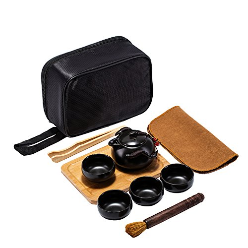Portable Ceramic Handmade Chinese Kungfu Teapot Set for Travelling with 4 Cups & Bamboo Tray & Storage Bag & Tea Mat & Brush & Clip (Black)