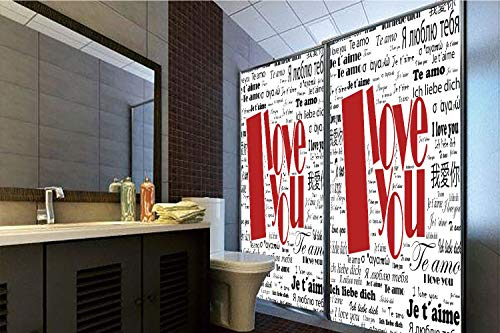 No Glue Static Cling Glass Sticker,I Love You,Newspaper Stylized International Love Words Contemporary Happy Mothers Day Decorative,White Black Red,39.37