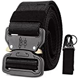 """Riggers Belt Black Tactical Belts for Men Military Battle Women Nylon Webbing Heavy Duty Shooter Molle 1.5"""" Convenient Quickly Unlock Police Mission Travel Emergency Survival outdoor Key Ring Holder"""