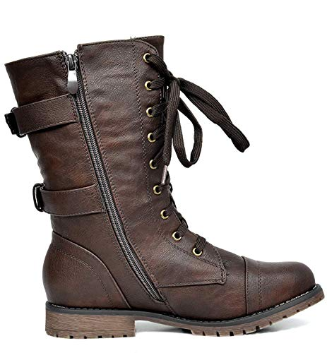 DREAM up Terran Women's PAIRS Combat New Winter Boots Lace Booties brown rwPArqax