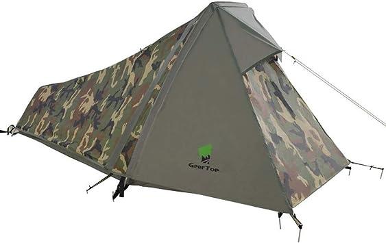 GEERTOP Tienda de Campaña Ligera con Varillas de Aluminio - 213 x 101 x 91cm (1,5 kg) - 1 Persona 3 Estaciones para Acampar al Aire Libre (Camouflage): Amazon.es: Deportes y aire libre