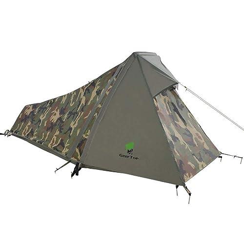 GEERTOP Tente de Randonnée Ultra Légère 1 personne 3 - 4 Saison pour Camping Trekking d'Extérieur - 213 x 101 x 91 cm (1,5 kg)