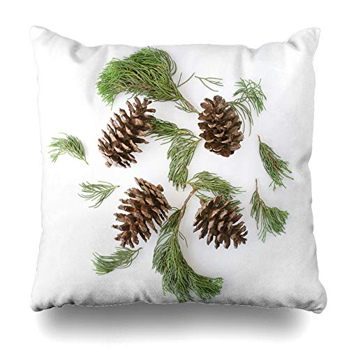 Ahawoso Throw Pillow Cover Square 18x18 Cones Green Branch Christmas Tree Branches Pine Celebrate Aged Nature December Evergreen Fir Design Zippered Cushion Case Home Decor Pillowcase (Collection Bedding Pine Cone)