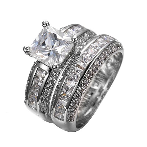 [PSRINGS Crystal White Zircon Ring Set White Gold Filled Wedding Engaget Rings Jewelry 7.0] (Ninja Turtle Nose Costume)