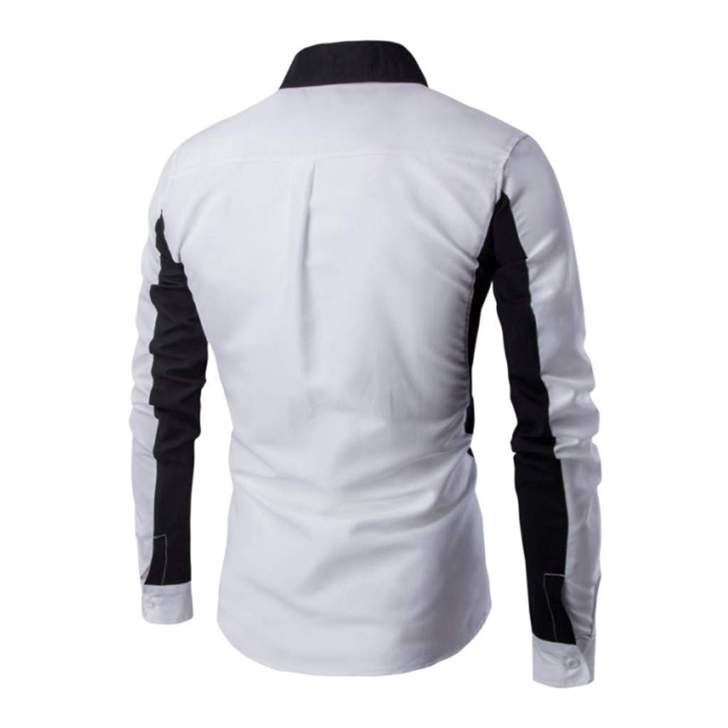 NUWFOR Men's Long Sleeve Splicing Painting Large Size Casual Top Blouse Shirts(White,L US Chest:44.1''