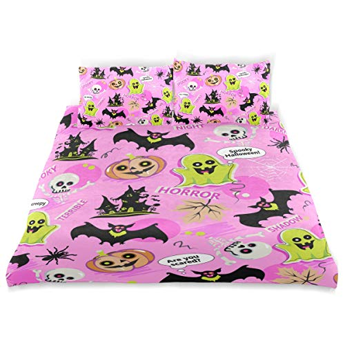 YCHY Decor Duvet Cover Set, Halloween Pattern Doodles Gost Pumpkin Bat Texture Background A Decorative 3 Pcs Bedding Set with Pillowcases, King -