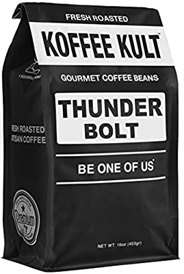 Thunder Bolt Coffee French Roast Colombian Freshly Roasted Restaurant Quality Gourmet Coffee - Ideal for French Press, Drip Coffee from Koffee Kult from Koffee Kult