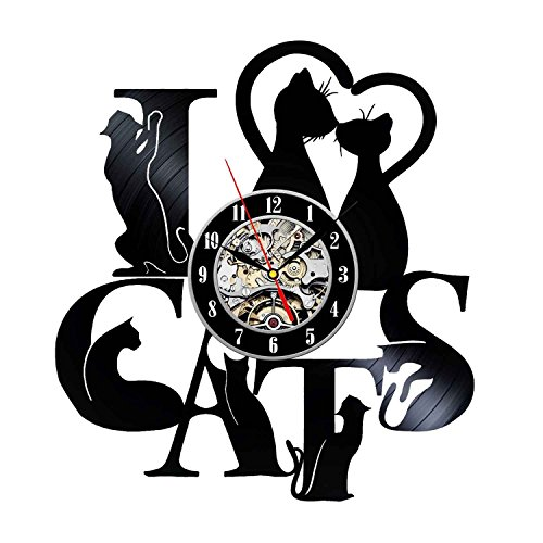 Decorative Cat Design Vinyl Record Wall Clock