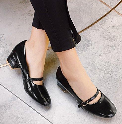 Aisun Donna Semplice Low Cut Wear To Work Ufficio A Punta Quadrata Cinturino Fibbia Mid Block Tacco Slip On Pumps Scarpe Nere