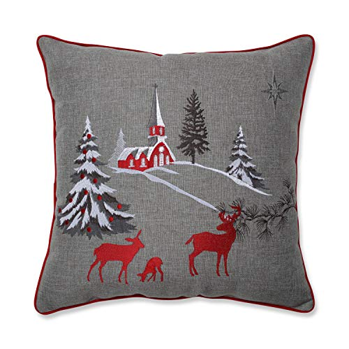 Pillow Perfect Christmas Scene Embroidered Decorative Pillow, 17