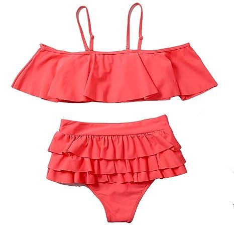 Ansenesna Traje De BañO Sexy 2018 para Mujer, Bikini con Traje De BañO De Color Liso Dividido con Tubo De Encaje De 3 Hojas De Lotus Leaf: Amazon.es: Ropa y ...